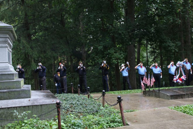 A 21-gun salute is fired Sunday to honor the birthday of President Rutherford B. Hayes, who was born on Oct. 4, 1822, and died Jan. 17, 1893. He is buried in Spiegel Grove, Fremont.