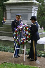Chaplain Robert P. Lewis of the 84th Training Command of the U.S. Army Reserve and Brigadier General Patricia R. Wallace lay a wreath at the tomb of President Rutherford B. Hayes on Sunday. Each year, the sitting U.S. president sends military members to lay a wreath at Hayes' tomb in Spiegel Grove in Fremont on the Sunday closest to the 19th American president's birthday, which was Oct. 4, 1822.