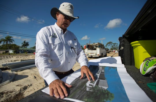 David Malt, of Malt Construction, describes a new structure being built on Crystal Drive, between U.S. 41 and Metro Parkway in Fort Myers, Thursday, October 3, 2019. The new industrial park will have the modern look of a shopping center