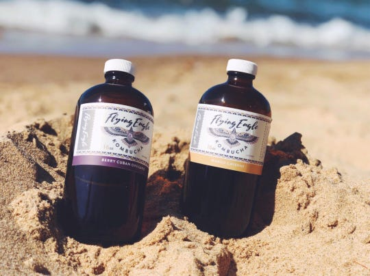 Flying Eagle's kombucha flavors include mixed-berry with Cuban oregano, and mango-cayenne.