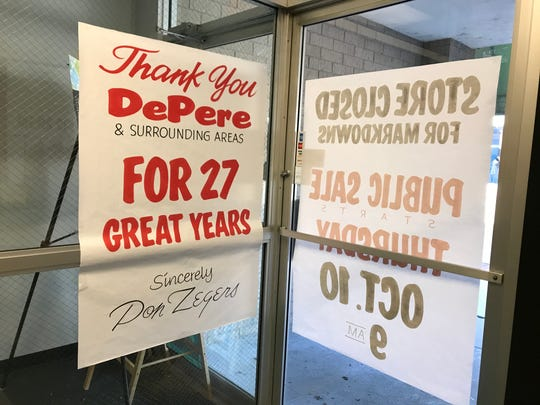 Zegers Clothiers is holding a retirement sale Oct. 10-13 to kick off its inventory liquidation and store closing. Owner Don Zegers has added signage to thank customers and the De Pere community for 27 years of support.