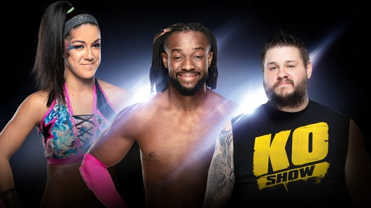 Bayley, from left, Kofi Kingston and Kevin Owens will be at the Resch Center on Dec. 12 for WWE Live Holiday Tour.