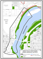 In 2007, the city of Great Falls enbarked on a program of urban renewal for the area known as West Bank, bounded on the West by 3rd Street NW/SW, on the East by the center line of the Missouri River, on the North by a point just north of 14th Avenue NW and on the South by a point just south of 5th Avenue SW.  The area, which has been designated by the Great Falls City Commission as the West Bank Urban Renewal District, is in transition.