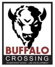 The logo for the Buffalo Crossing riverfront development.