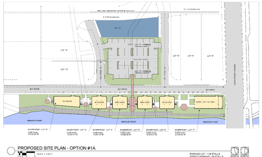The current site plan features the barrel building and five addition buildings to the south in addition to parking located across Bay Drive.