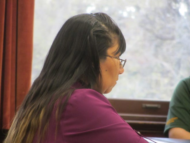 Corena Marie Mountain Chief listens to testimony during her trial for sexual abuse of children Monday, Oct. 7, 2019.