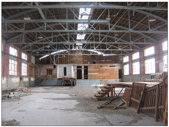 The interior of the barrel-vault building, which would be renovated in the proposed Buffalo Crossing river front mixed-use development.