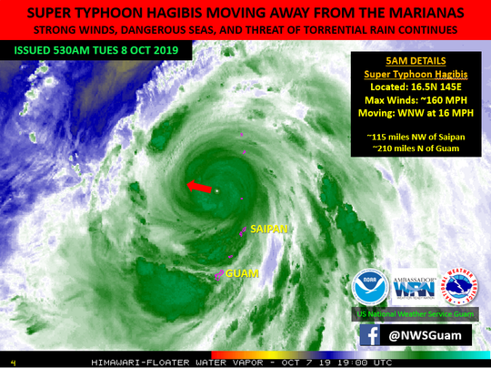 A graphic from the National Weather Service shows where Super Typhoon Hagibis was at 5 a.m. Oct. 8, 2019.