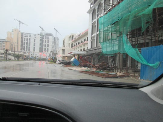 A construction site in Saipan was damaged after Super Typhoon Hagibis passed through the Northern Mariana Islands on Oct. 8, 2019. The Northern Marianas will implement a 64-hour work schedule beginning March 15 and reinforce cost-containment measures.