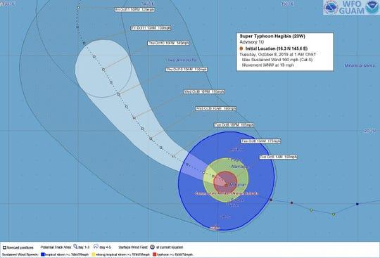 Super Typhoon Hagibis Advisory 10; Tuesday, Oct. 8 1 a.m. ChST.