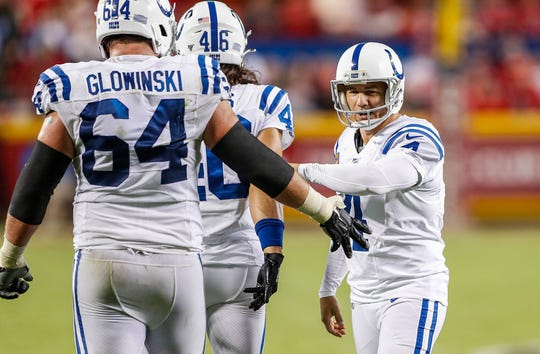 Indianapolis Colts kicker Adam Vinatieri (4) celebrates a field goal late in the fourth quarter of their game at Arrowhead Stadium in Kansas City, Mo., on Sunday, Oct. 6, 2019. The Colts won, 19-13.