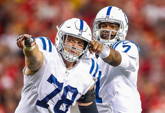 Indianapolis Colts center Ryan Kelly (78) and quarterback Jacoby Brissett (7) set up an offensive play during the second quarter of their game at Arrowhead Stadium in Kansas City, Mo., on Sunday, Oct. 6, 2019.