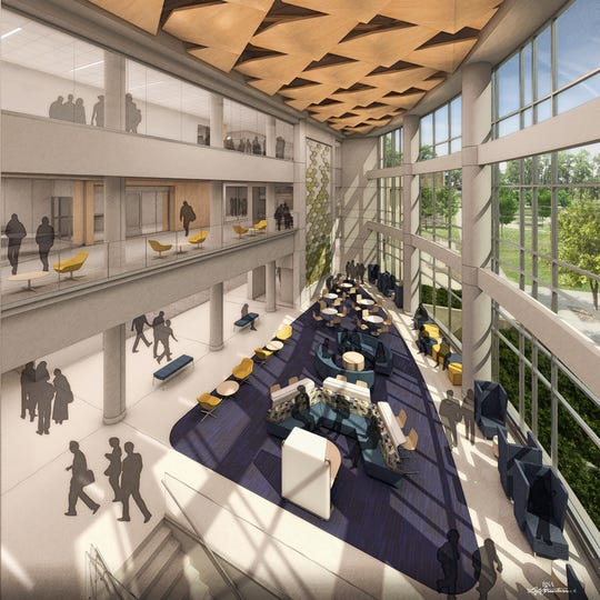 Artist rendering of the atrium in the new Butler University science facility.