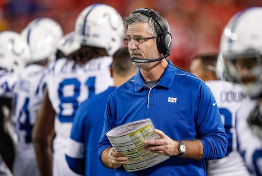 Indianapolis Colts head coach Frank Reich during the first quarter of their game at Arrowhead Stadium in Kansas City, Mo., on Sunday, Oct. 6, 2019.