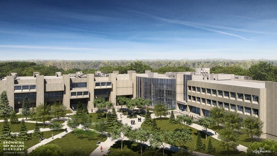 Artist rendering of the exterior of what the new Butler science facility will look like after a $100 million overhaul.