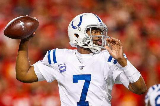 Indianapolis Colts quarterback Jacoby Brissett (7) drops back to pass during the first quarter of their game at Arrowhead Stadium in Kansas City, Mo., on Sunday, Oct. 6, 2019.