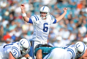 Indianapolis Colts QB Dan Orlovsky calls a play at the line against the Jacksonville Jaguars in the second half of their game Sunday afternoon at Everbank Field in Jacksonville FL. The Colts lost to the Jaguars 13-19. Matt Kryger / The Star