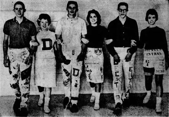 """""""Senior Day"""" at Decatur Central brought out all the senior cords in 1961. From left to right: Larry Millholland, Gwen Shanklin, Wayne Brooks, Sally McCory, John Hesson and Pamala Edwards all model their decorated corduroy outfits."""