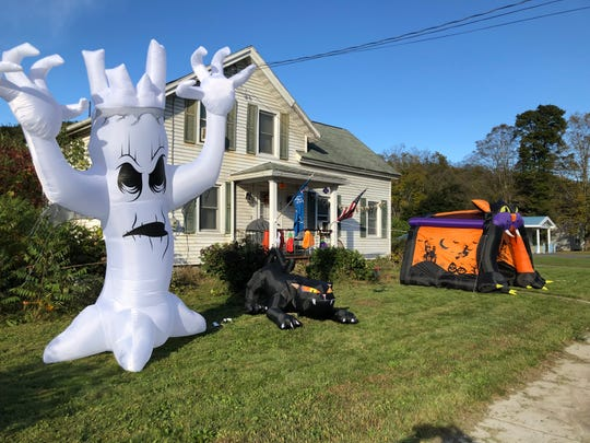 Halloween decorations are starting to appear around town. These scary lawn decorations are on East Tioga Street in Spencer.