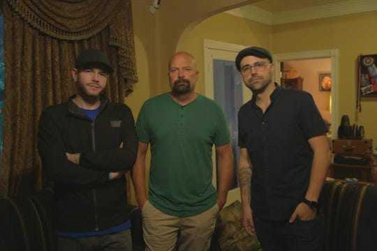 """Steve Gonsalves, Jason Hawes and Dave Tango inside the Totherow House in White Pine during an episode of the Travel Channel's """"Ghost Nation."""""""