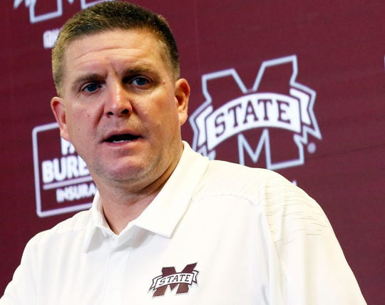 In this Aug. 11, 2018 photograph, Mississippi State football defensive coordinator Bob Shoop, talks about senior players' leadership with reporters during the Mississippi State Media Day, in Starkville, Miss. (AP Photo/Rogelio V. Solis)