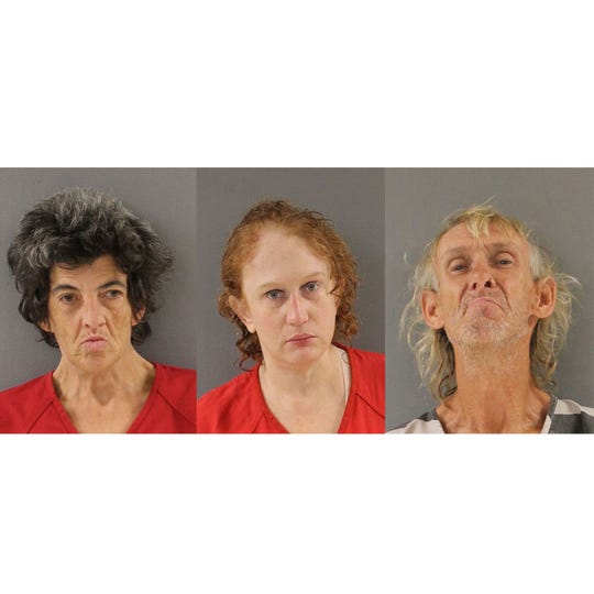 "Christina Barbara McCormack, left, Deborah Maria Gister, and Tommy Wayne Rose have been charged in connection with the discovery of a ""mummified"" corpse found in a shed at a Knoxville residence."