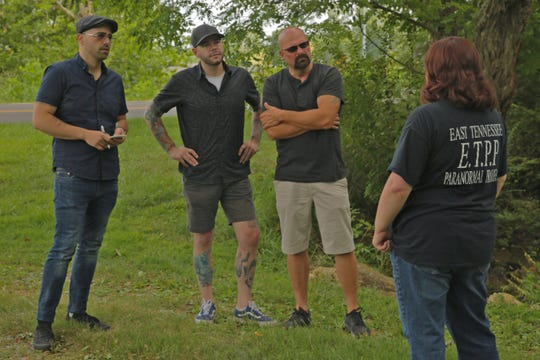 """Local paranormal investigator Jessica Clevinger gives Jason Hawes, Steve Gonsalves and Dave Tango the rundown of a case in White Pine on Travel Channel's """"Ghost Nation."""""""