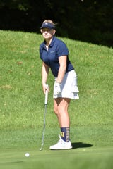 Savannah Grabowski shot 85 to lead Hartland to a berth in the state golf tournament during the regional at Oak Pointe Country Club on Monday, Oct. 7, 2019.