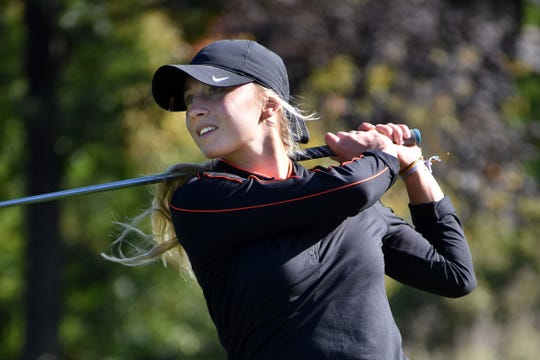 Maggie Pietila of Brighton shot 82 to qualify individually for the state golf tournament during the regional at Oak Pointe Country Club on Monday, Oct. 7, 2019.