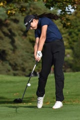 Violet Sinishtaj of Hartland shot 86 during the regional golf tournament at Oak Pointe Country Club on Monday, Oct. 7, 2019.