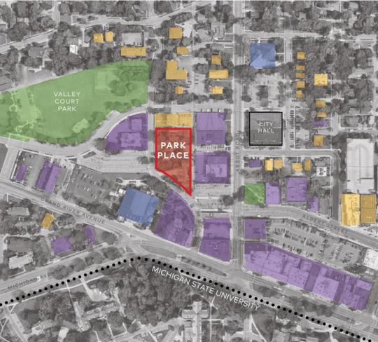 Locator map for Park Place West as included in an application for the project site plan.