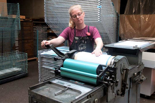 Stephanie Carpenter printing at Hamilton Wood Type Museum.