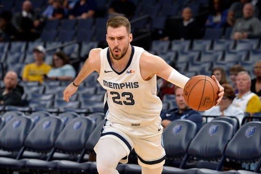 Memphis Grizzlies guard Marko Guduric (23) plays in the second half of an exhibition NBA basketball game against Maccabi Haifa Sunday, Oct. 6, 2019, in Memphis, Tenn. (AP Photo/Brandon Dill)
