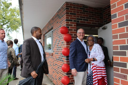 Gov. John Bel Edwards stopped by Bastrop during a series of campaign events in northeast Louisiana on Monday. Guests filled the Evans 2nd Chance Center for the event. Edwards is pictured here with the center's owner, Ora Evans.