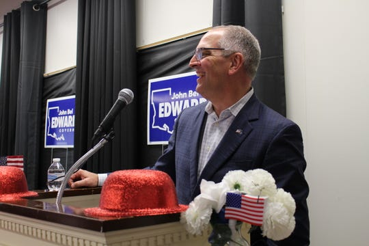 Gov. John Bel Edwards stopped by Bastrop during a series of campaign events in northeast Louisiana on Monday.