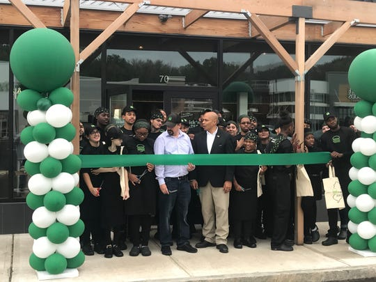 Shake Shack opened its first Morris County location Monday, Oct. 7, 2019, at Waterview Marketplace in Parsippany: Mayor Michael Soriano cuts the ceremonial ribbon.