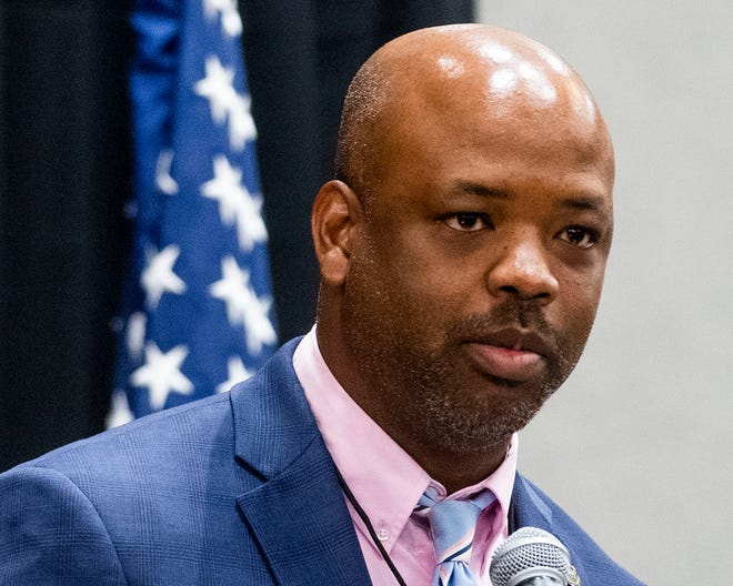 Rep. Christopher England speaks after he is elected chair pro tem during a called meeting of the State Democratic Executive Committee in Montgomery, Ala., on Saturday October 5, 2019.