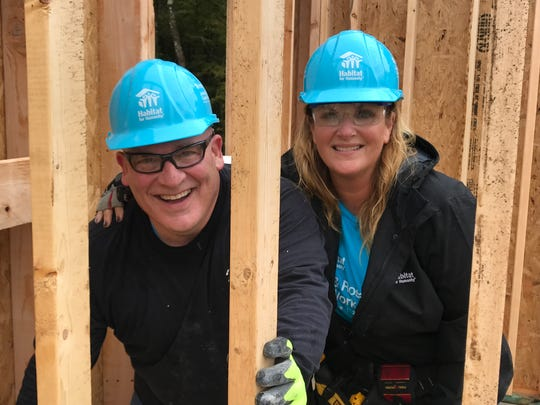 Trisha Yearwood, right, got partnered with Tennessean columnist (and Habitat rookie) Brad Schmitt at a build in northern Davidson County on Monday.