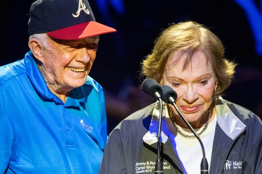 Former President Jimmy Carter and former First Lady Rosalynn Carter speak during the Habitat for Humanity of Greater Nashville opening ceremony at the Ryman Auditorium Sunday, Oct. 6, 2019, in Nashville, Tenn.