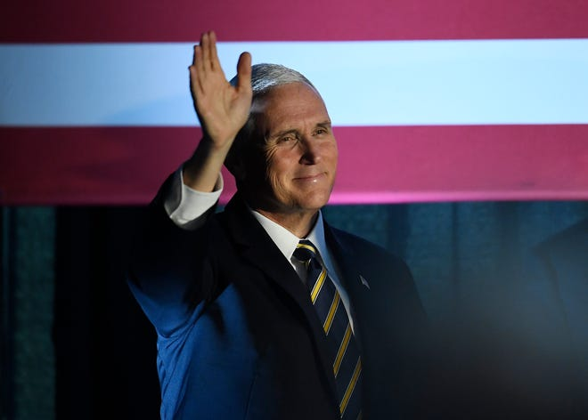 Vice President Mike Pence waves to employees during a visit to speak on the United StatesÐMexicoÐCanada Agreement at Tyson Foods Monday, Oct. 7, 2019 in Goodlettsville, Tenn.