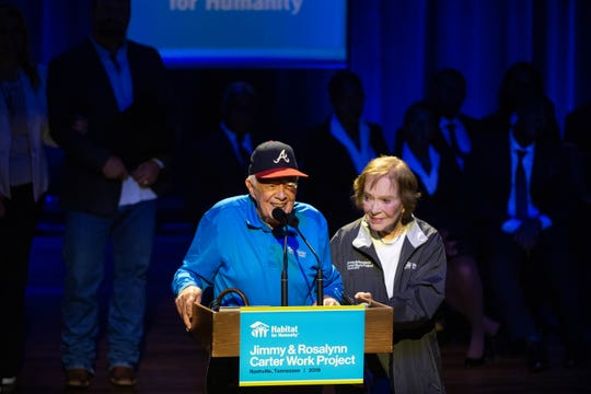 Former President Jimmy Carter and former First Lady Rosalynn Carter speak during the Habitat for Humanity Carter Work Project opening ceremony at the Ryman Auditorium Sunday, Oct. 6, 2019, in Nashville, Tenn.