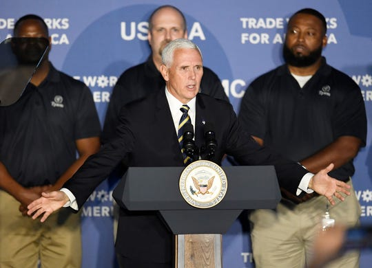 Vice President Mike Pence speaks on the United States-Mexico-Canada Agreement at Tyson Foods Monday, Oct. 7, 2019 in Goodlettsville, Tenn.