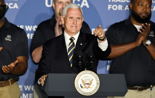 Vice President Mike Pence points to the audience during a visit to speak on the United States-Mexico-Canada Agreement at Tyson Foods Monday, Oct. 7, 2019 in Goodlettsville, Tenn.