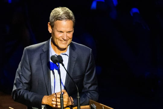 Tennessee Governor Bill Lee speaks during the Habitat for Humanity Carter Work Project opening ceremony at the Ryman Auditorium Sunday, Oct. 6, 2019, in Nashville, Tenn.