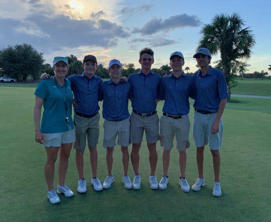 The Gulf Coast High School boys golf team won the 2019 CCAC title by a stroke over Naples at Valencia Golf Club.