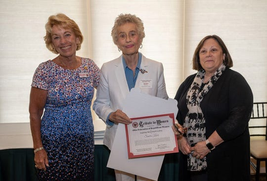 Sondra Knerr, center, of Newark, received the 2019 Tribute to Women Award from the Ohio Federation of Republican Women. She is flanked by Vice President Mary Beth Kemmer, left, and OFRW President Janet Kushlan, right.