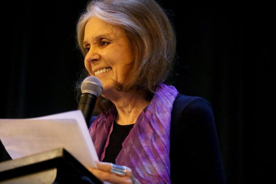 """Gloria Steinem is shown at the Women's Club of Ridgewood, with Hillary and Chelsea Clinton, where they talked about their new book, """"The Book of Gutsy Women: Favorite Stories of Courage and Resilience"""" on Sunday, Oct. 6."""