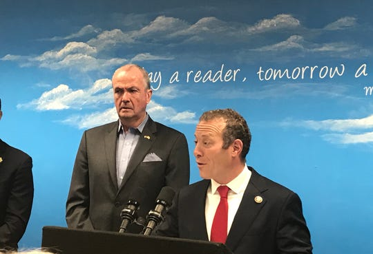 U.S. Congressman Josh Gottheimer and New Jersey Gov. Phil Murphy announced efforts meant to keep kids safe from lead in their school drinking water on Monday, Oct. 7, 2019 at Herbert Hoover Elementary School in Bergenfield.