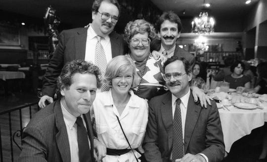Retirement party for longtime Record writer Susan Servis Scilla (center), in Garfield, NJ. September 12, 1986