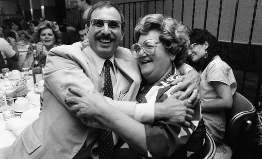 Retirement party for longtime Record writer Susan Servis Scilla (right), in Garfield, NJ. September 12, 1986